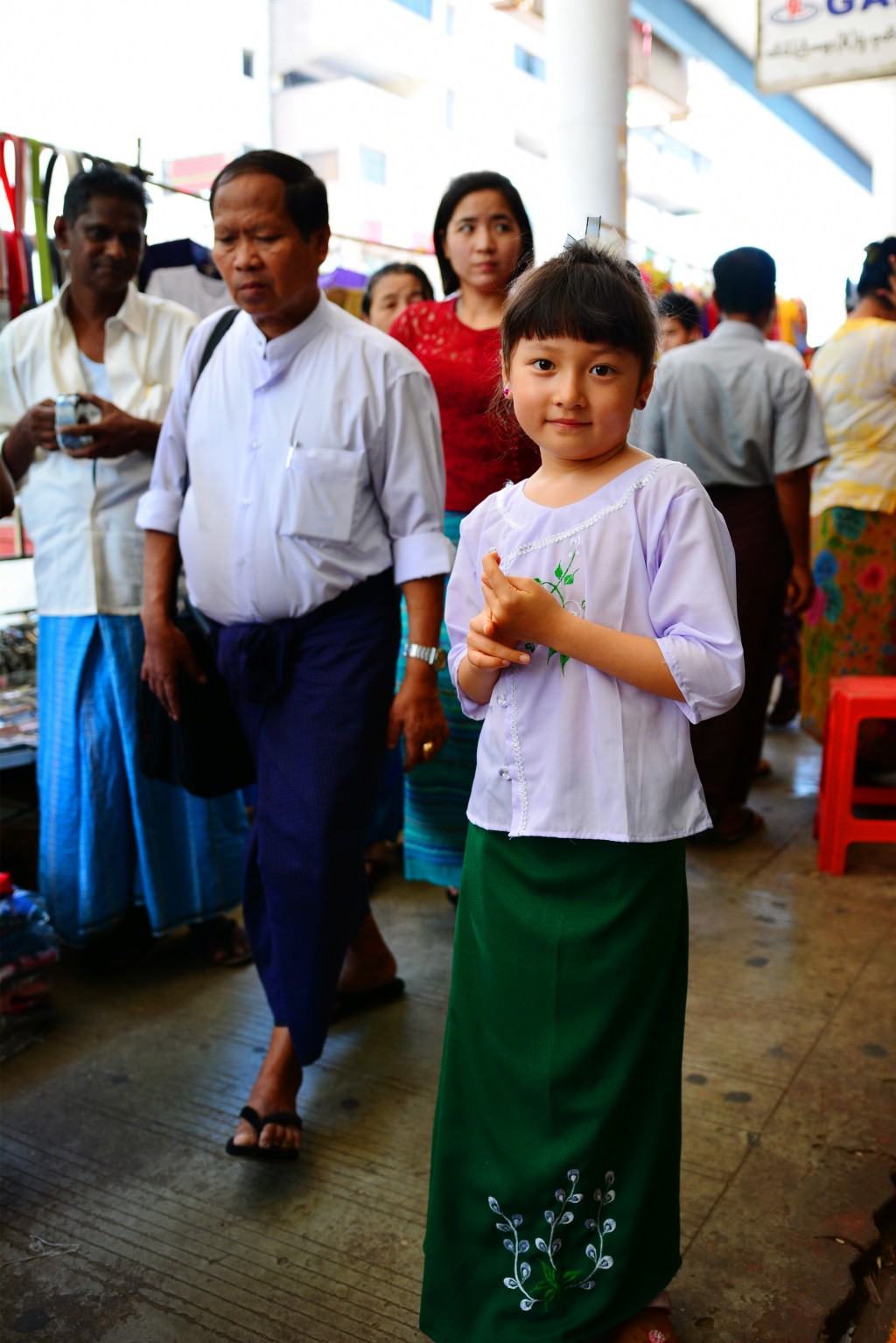 we found out later this is the Burmese standard schoolgirl uniform