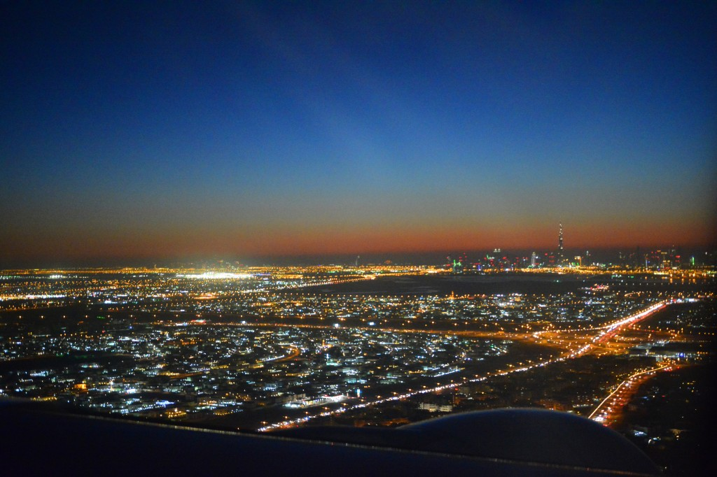 landing at dusk, the shiny needle in the distance is none other than the Burj Khalifa